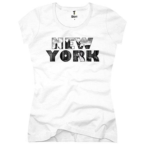 Damen T-Shirt mit Aufdruck. T Shirt mit USA Vintage Motiv. Shirt aus Baumwolle. Größe L,Weiß