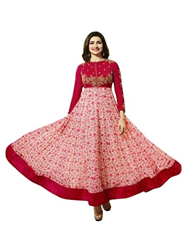 Surat Tex Red Colored Goergette Embroidered Semi-Stitched Salwar Suit-K546DLC5075