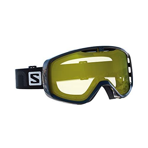 Salomon maschera da sci unisex, per portatori di occhiali, tempo nuvoloso,visiera giallo chiaro con effetto flash, sistema airflow, aksium access, verde chiaro, l39084300