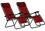 KEPLIN Set of 2 Heavy Duty Textoline Zero Gravity Chairs | Garden Outdoor Patio Sun Loungers | Folding Reclining Chairs