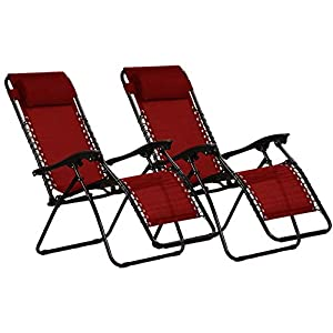 KEPLIN Set of 2 Heavy Duty Zero Gravity Chairs - Red
