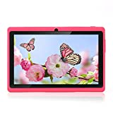Haehne 7' Tablet PC, Google Android 4.4 Quad Core, 512MB RAM 8GB ROM, Cámaras Duales, WiFi, Bluetooth, para Niños y Adultos, Rosado