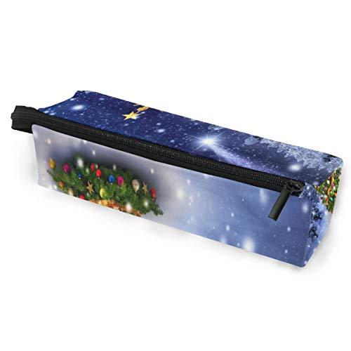 Bleistiftbeutel federmäppchen tasche winter schnee weihnachtsbaum wald make-up kosmetische sonnenbrille für mädchen jungen reiseschule