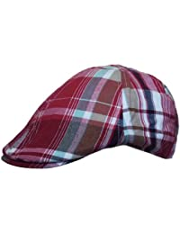 Mens Flat Cap Hat Country Check Print in Red