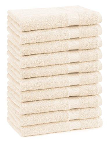 BETZ Lot de 10 Serviettes débarbouillettes lavettes Taille 30x30 cm en 100% Coton Premium Color Beige