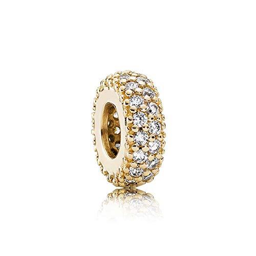 Schmuck Geschenk, Perle Charme Gold Shine Pave Logo Hearts Path Modern Lovepods Inspiration Elegance Clip Beads Fit Bracelet 925 Sterling Silver Charm 6 - Clip Rosenkranz