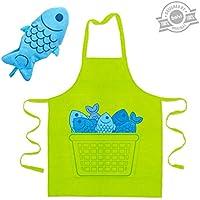 Balvi - Blue fin conjunto de delantal y manopla de cocina