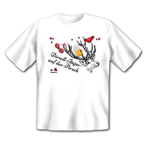 cooles, witziges und tolles T-Shirt Goodman Design® Farbe: weiss : Dirndl-Jäger................ Weiß