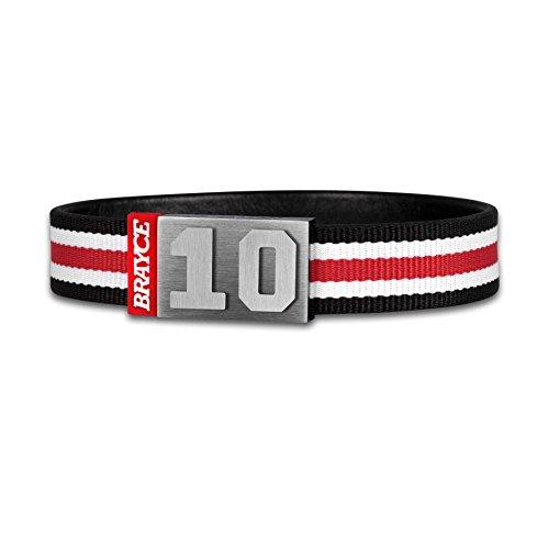 BRAYCE® Trikot am Handgelenk® mit Deiner Nummer 00-99 I Armband schwarz, weiß & rot