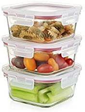 Femora 300, 450, 665ml Break Resistant Borosilicate Square Kitchen Food Storage Container with Lid, 125x125x60mm, 160x160x70mm (Clear, Pack of 3)