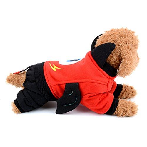 verall Fleece gefüttert Cartoon Devil Pet Halloween-Kostüm Puppy Jacke Sweatshirt Cat Hund Bekleidung Doggy Kleidung ()