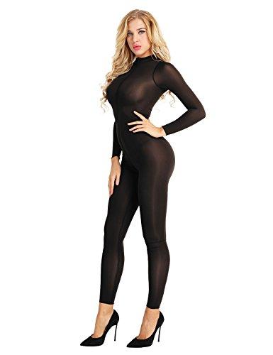 Catsuit Einteiler lang elastische Langarm Body Overall mit Reisverschluss elegant und sexy Ganzkörper Unterwäsche Clubwear Outfit Schwarz L ()