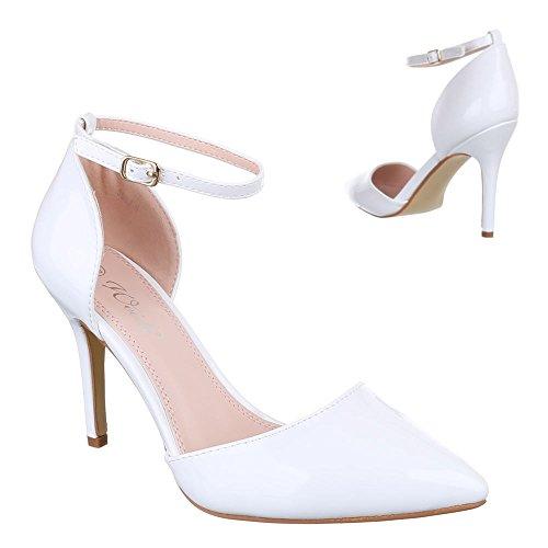 Ital-Design High Heel Pumps Damenschuhe High Heel Pumps Pfennig-/Stilettoabsatz High Heels Klettverschluss Pumps Weiß 9968-9