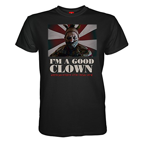 King of Merch - Herren T-Shirt - American Horror Story Good Clown Murder House Asylum Coven Freak Show Hotel Naomi Campbell Lady Gaga Kathy Bates Liz Taylor Hypodermic Sally Iris Schwarz XL (American Horror Story-shirt Für Mädchen)