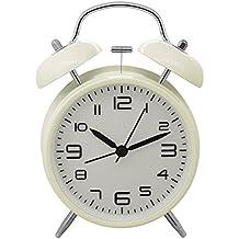 Konigswerk - Reloj despertador (10,16 cm, silencioso, mecanismo de cuarzo, analógico, con sonido alto de despertador), diseño vintage - Blanco