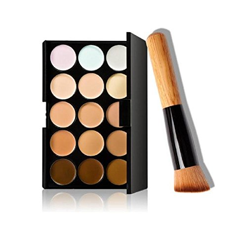Zhen+ 15 Farbe Concealer + 1pc Make-up Pinsel, Mode Beauty Make-up Bürsten Sets, Kosmetikpinsel...