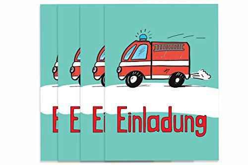 Deingastgeschenk 8 Stück Einladungen Kindergeburtstag Feuerwehr (Passende Mitgebseltüten ASIN B07JKCS6H2)