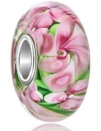 Pink Flower Murano Lampwork Glass Beads 925 Silver Charm Sale fit Pandora Bracelet