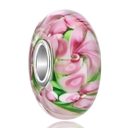 Glasperlen Charm rosa Blume Murano, 925Silber, für Pandora Armband (Pandora Charms Blumen)