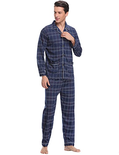 Aibrou Herren Baumwolle Pyjama Set, Winter Warm Langarm Zweiteiliger Schlafanzug Karierte Nachtwäsche Blau XXL