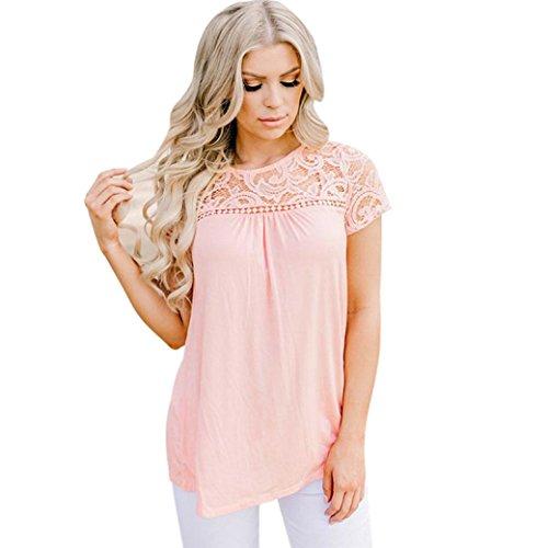 toamen Top Women Short Sleeve Lace Vest Top Blouse Casual T-shirt