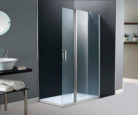 Seitentür Dusche und Flügeltore. 100+ 40cm. Glas transparent.
