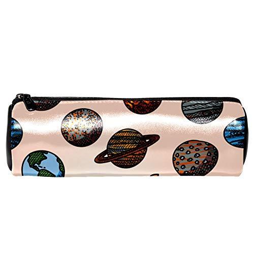 EZIOLY Planet Mercury, Venus, Earth, Mars Leder Federmäppchen, Münztasche, Kosmetiktasche, Make-up-Tasche für Schule, Arbeit, Büro