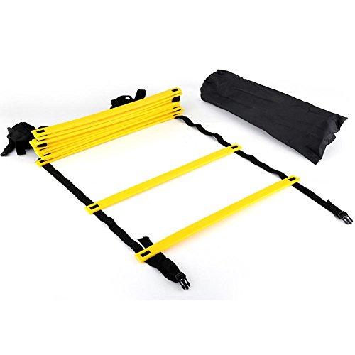 GLOGLOW 6m Agility Ladder, Attrezzatura per l'allenamento della velocità ad Alta intensità con 12 gradini Regolabili Borsa da Trasporto Nera Ideale per Calcio, Calcio, Fitness, Allenamento dei Piedi