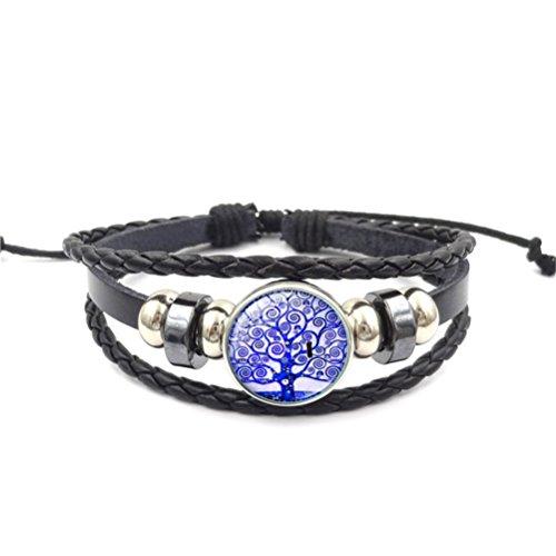 Missrui Arbre de vie multicouche Cuir Corde Bracelet de soirée d'anniversaire Cadeau pour votre Famille ami