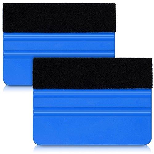 kwmobile Folienrakel Set mit Filzkante - 2x Folien Rakel für z. B. Tönungsfolie Fensterfolie Wandtattoo Fliesen Aufkleber - Folierungswerkzeug Blau