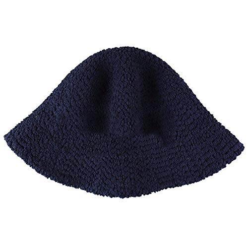XIAOYANG Sen Department Wild Pure Color Fluffy Fisherman Hat Männer und Frauen Herbst und Winter Retro Skull Cap Koreanische Version des warmen Basin Hat Flut, Navy