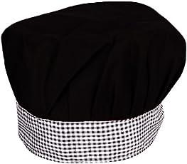 Aurum Creations Black Chef Cap Grey Black Check Contrast