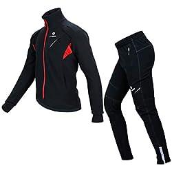 X-TIGER Invierno Chaqueta Ciclismo Ropa Manga Larga+Pantalones de Impermeable y Resistente al Viento de Térmica vellón para Hombre Ciclismo Chaqueta-XXL