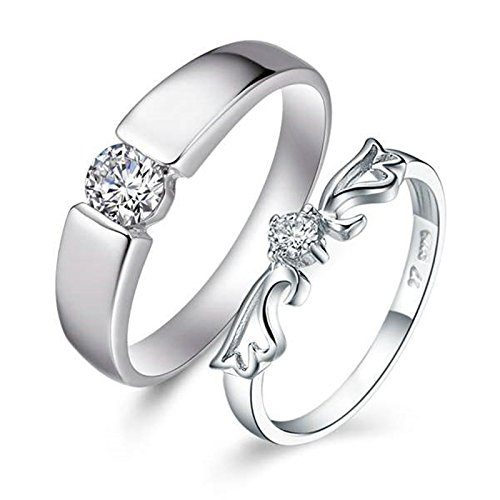 BeyDoDo 1PCS Herren Ring Versilbert mit Weiß Zirkonia Rund Verlobungsring Silber Silberring Größe 66 (21.0)