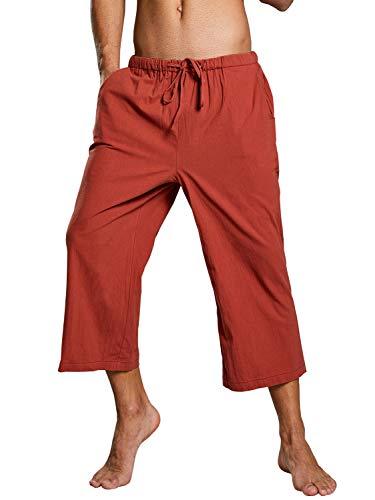 Pxmoda Leinenhosen für Männer Strandhose aus Leinen und Baumwolle, Lange & Kurze Hosen Herren Farbauswahl, Lässige Freizeithose mit Seitentaschen