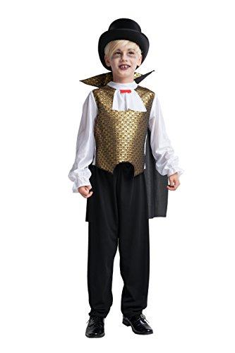 Vampir Kostüm Kinder gold Halloween - komplettes Vampirkostüm Kinder Jungen - Kostüm Kinder Vampir (128) (Gold Zähne Kostüm)
