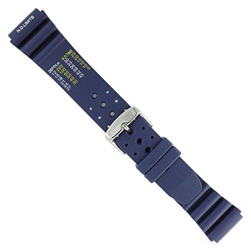 Uhrbanddealer Unisex Uhrenarmband 22mm Ersatzband Taucher Silikon Blau ND Limits typ 19222