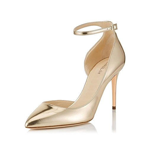 Wywq Femmes Chaussures De Mariée Fête De Banquet Bout Pointu Chaussures De Côté Simple Sangle De Cheville Talons Hauts Or Boucle Chaussures De Latex Grand Or