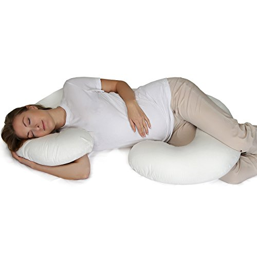 Supportiback® Schwangerschaftskissen zum Schlafen — C-Form Lagerungskissen und Seitenschläferkissen für Schwangere mit waschbarem und hypoallergenischem Bezug — Füllmaterial aus 100% Baumwolle