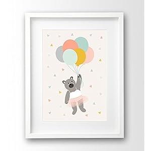 Kinderposter ungerahmt A4, Tütü Bär mit Luftballons