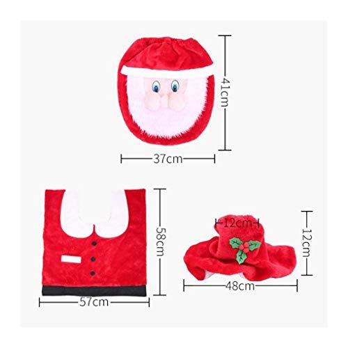 HONGYUANZHANG 3 Stücke Flanellette Tuch Wc-Sitzbezug Cap Teppiche Weihnachtsmann Fuß Pad Badematte Weihnachtsschmuck Für Home Bad Produkte