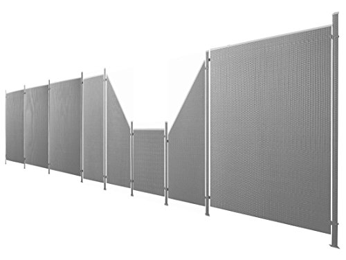 Poly-Rattan Sichtschutz / Zaun-Set 17-teilig anthrazit ca. 974cm Prime Tech