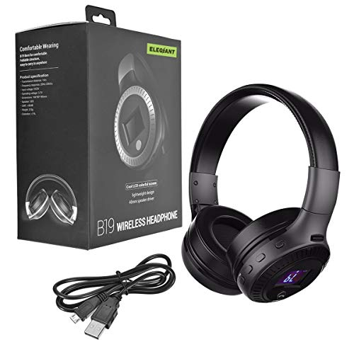 Bluetooth Kopfhörer, ELEGIANT Bluetooth 4.0 Stereo Headset On Ear Kopfhörer mit Digital Display 4 Modi Freisprechfunktion + Mic/ FM Radio/ TF SD Karte Slot/ 3,5mm Audio AUX - 8
