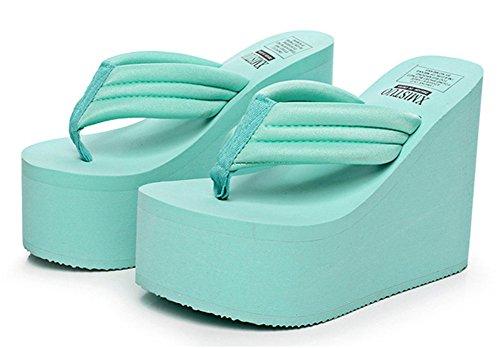 Good Night puro colore donne semplici della moda super high Infradito Thongs Blu