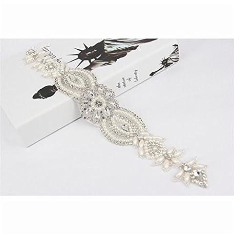 TRLYC Champagne Ribbon Bridal/Wedding Rhinestone Applique Crystal Wedding Belt for Wedding Sash/Trim