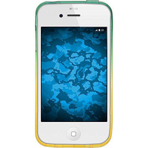 PhoneNatic Case für Apple iPhone 4S Hülle Silikon Design:04 Ombrè Cover iPhone 4S Tasche + 2 Schutzfolien Design:03