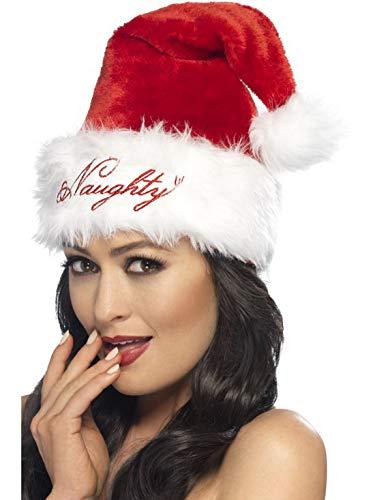 costumebakery - Kostüm Accessoires Zubehör Damen Naughty & Nice Weihnachtsmann Nikolaus Mütze, Christmas Santa Claus Hat, perfekt für Weihnachten Karneval und Fasching, Rot