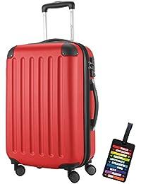 Hauptstadtkoffer® Bagaglio a mano (49 litri) con un lucchetto TSA Seria SPREE (Colore Rosso con 1 ciondolo per la valigia)