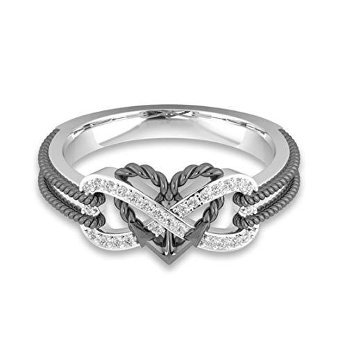 Ancjiape Erfindungsreiche Silberringe Unendliche Liebe Zwei -Ton -Ankerherz Versprechen Verlobung Hochzeitsjuwel Ring Geschenk für Frauen Größe 6-10 Reizend(None 8 Gun Black-No. 8) (Diamond 7 Black Größe Damen Ringe)