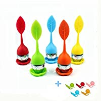 5-Paquete Filtros para Té MAXGOODS Infusor Colador de Silicona y Acero Inoxidable Diseño Hojas Multicolores con Regalos 5Pcs Soportes Caracol para Bolsa de Te